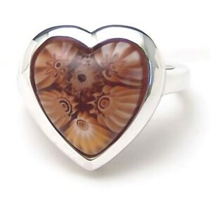 Sterling-Silver-Ring-Millefiori-Heart-Alan-K-Size-8-Handmade-New