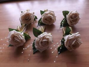 Wedding-rose-champagne-buttonholes-x-6-diamante-or-pearls-gold-ribbon-bow