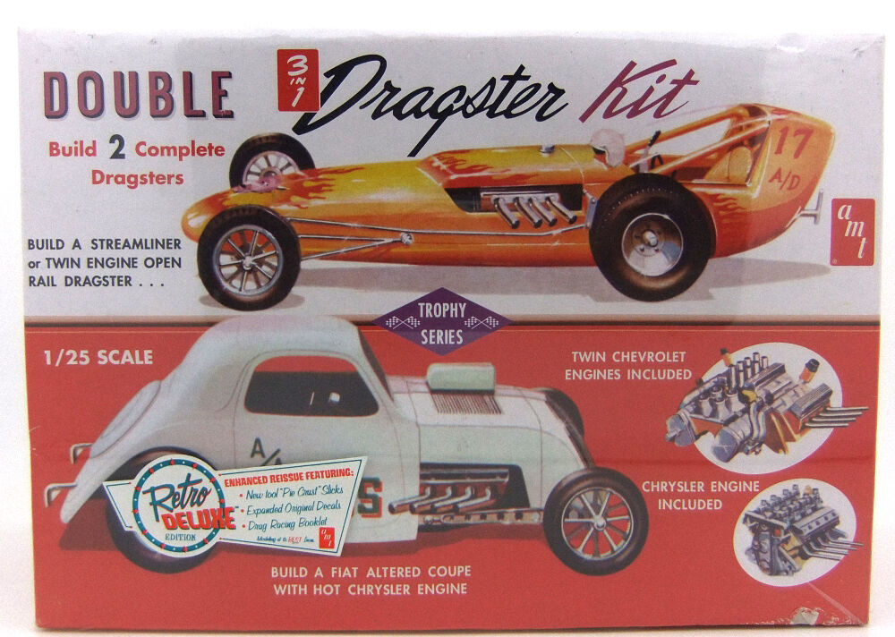 2010 discontinued AMT 646 1 25 Double Dragster 2 model kits in 1 in box new