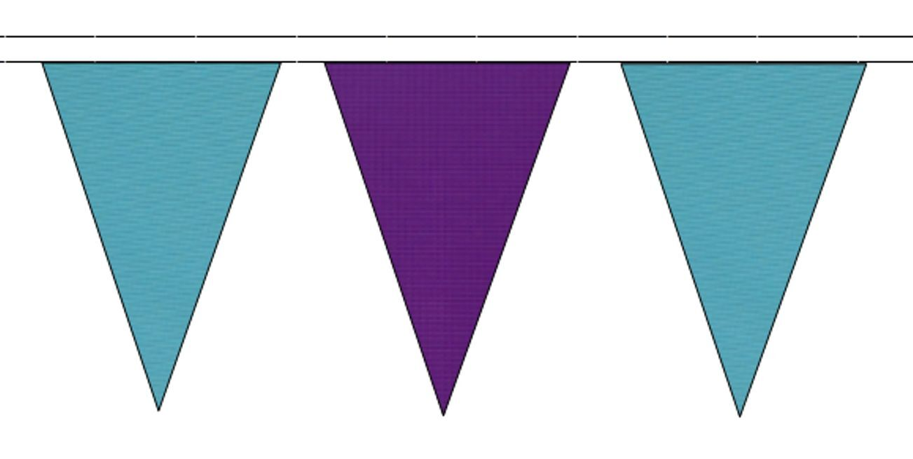 Sky bleu & violet Triangular Flag Bunting - 50m with 120 Flags