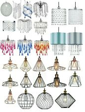MODERN CEILING LIGHT SHADE PENDANT VINTAGE LAMPSHADE CHANDELIER CRYSTAL DROPLETS