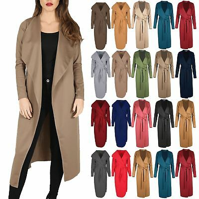 Rational Womens Ladies Tie Belt Cardigan Maxi Waterfall Italian Cape Duster Trench Coat Sparen Sie 50-70%