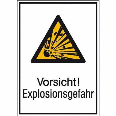 Vorsicht 13,10x18,50cm DE440 Aufkleber Explosionsgefahr Warnschild