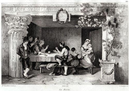Passepartout.1836 Gioco della Morra.Osteria Roma Audot.Acciaio.Stampa Antica