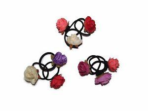 X3-FLOWER-ROSE-HAIR-ELASTICS-BOBBLES-FOR-GIRLS-FLOWER-GIRLS-WEDDINGS-ACCESSORIES