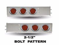 Stainless Steel Mud Flap Hanger W/ Red (8 Led) Lights Spring Loaded (pair) 2.5