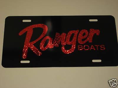 Baja boats// license plate//  RED on BLACK aluminum