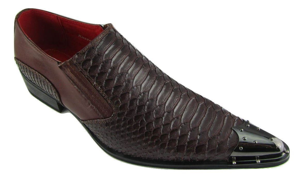 Rossellini Benitez Mens shoes Brown Leather Lined Metal Pointed Rock shoes