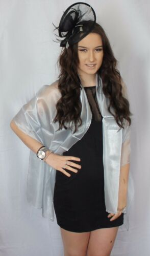 Silver Grey Large Organza ball wrap Shawl Stole Evening Scarf Party Dinner Dance