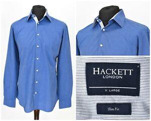 Mens-Hackett-London-Shirt-Slim-Fit-Blue-Long-Sleeve-Cotton-Button-Size-XL