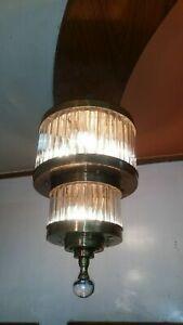 VINTAGE-ANTIQUE-ART-DECO-SHIP-GLASS-ROD-CEILING-FIXTURE-6-LIGHT-CHANDELIER-LAMP
