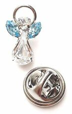 Elements Birthstone Guardian Angel Pin March Aquamarine with Swarovski Crystal