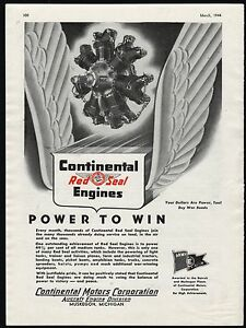 1944 WWII CONTINENTAL MOTORS Red Seal Military Aircraft