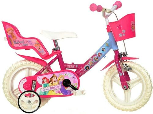 Dino Bikes Bici Bicicletta Taglia 12 Disney Principesse per Bambina  3-5 Anni