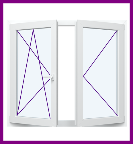 2 Flügel Fenster mit Rollladen 2 oder 3 fach verglaste Kunststofffenster