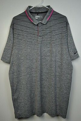 Nike Golf TOUR PREMIUM Dri Fit Standard Fit Polo Shirt Size XXL Gray Pink NWOT