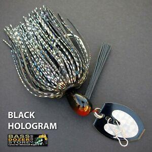 Bassdozer-BLADED-jigs-BLACK-HOLOGRAM-SNAGLESS-bass-jig