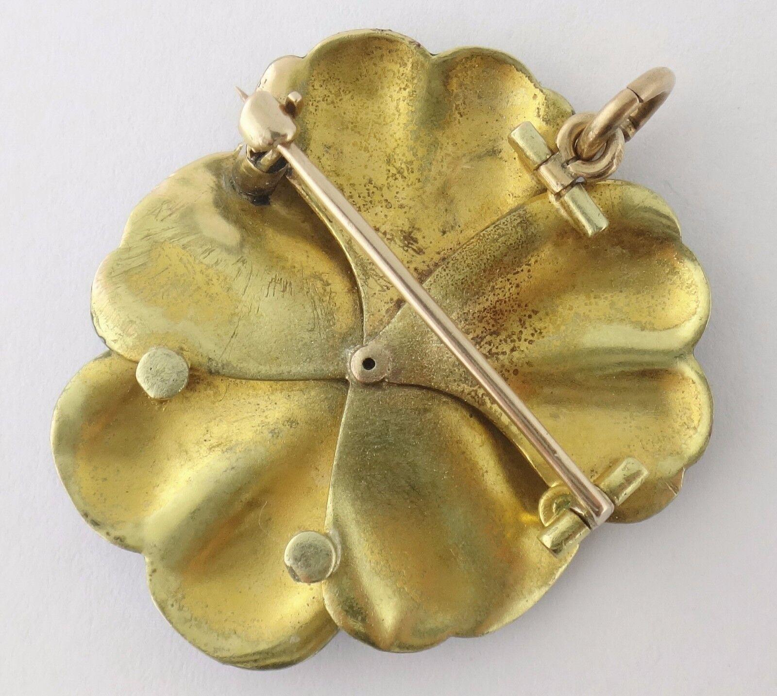 Vintage 14K Enamel Enameled Diamond Large Pansy P… - image 4