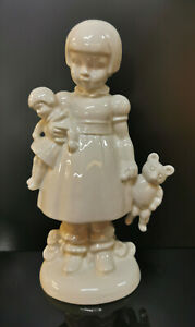 9942968-ds Wagner&Apel Porcellana Figura Bambina Con Orsacchiotto Bianco H18cm