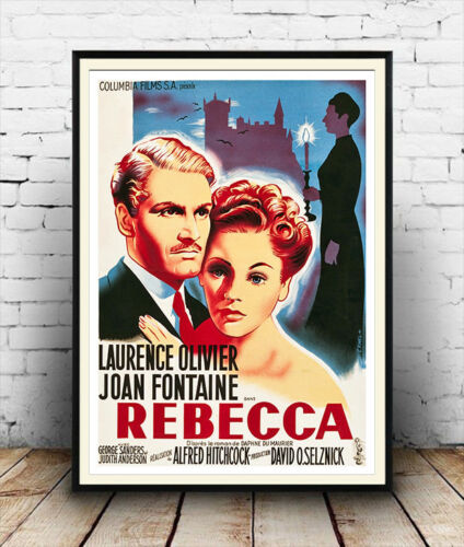 Rebecca : Vintage Movie advert Wall art poster Reproduction.