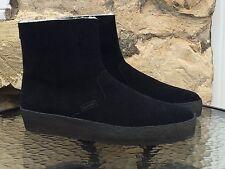 Clarks Originals Jez ICE Stivali UK 8.5 Nuovi Neri in Pelle Scamosciata Desert Trek cucitura