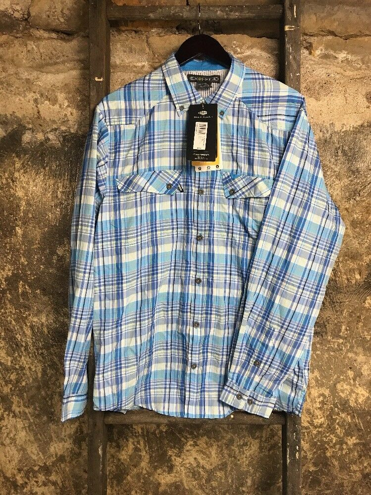 ExFficio Minimo Plaid Long Sleeve Shirt Malibu Size Large