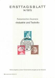 Germany ETB Ersttagsblatt 14/1975 Industry and Technology BONN 1
