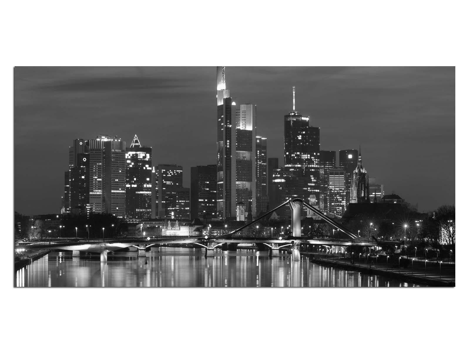 Deco Glas Bild EG4100500541 SKYSCRAPER Stadt b w Größe 39,37  x 19,68  HD Prin