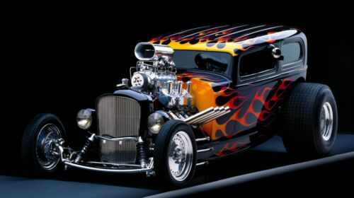 """Black Flamed Street Rod 42/"""" x 24/"""" LARGE WALL POSTER PRINT NEW."""