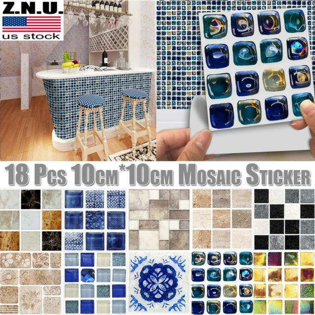 1:12 Miniature Mosaic Style Kitchen Bathroom Wall Sticker Self-adhesive Decor