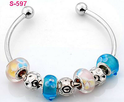 1pc new handmade charm cuff bracelet fit European beads s-597