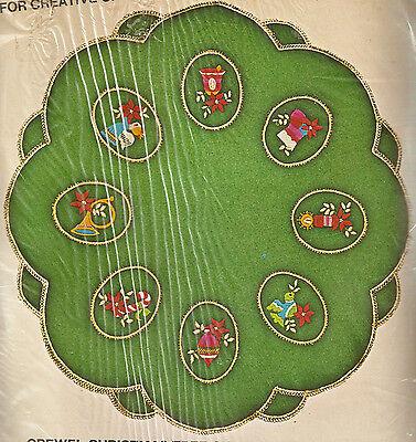 Vintage Bucilla Crewel Embroidery on Felt Christmas Tree Skirt Kit