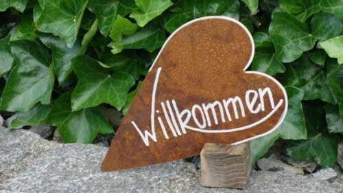 Willkommen Schild Eisen auf Fuß Holz Garten Deko Metallschild