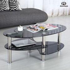 Black Glass Oval Side Coffee Table Shelf Chrome Base Living Room Furniture
