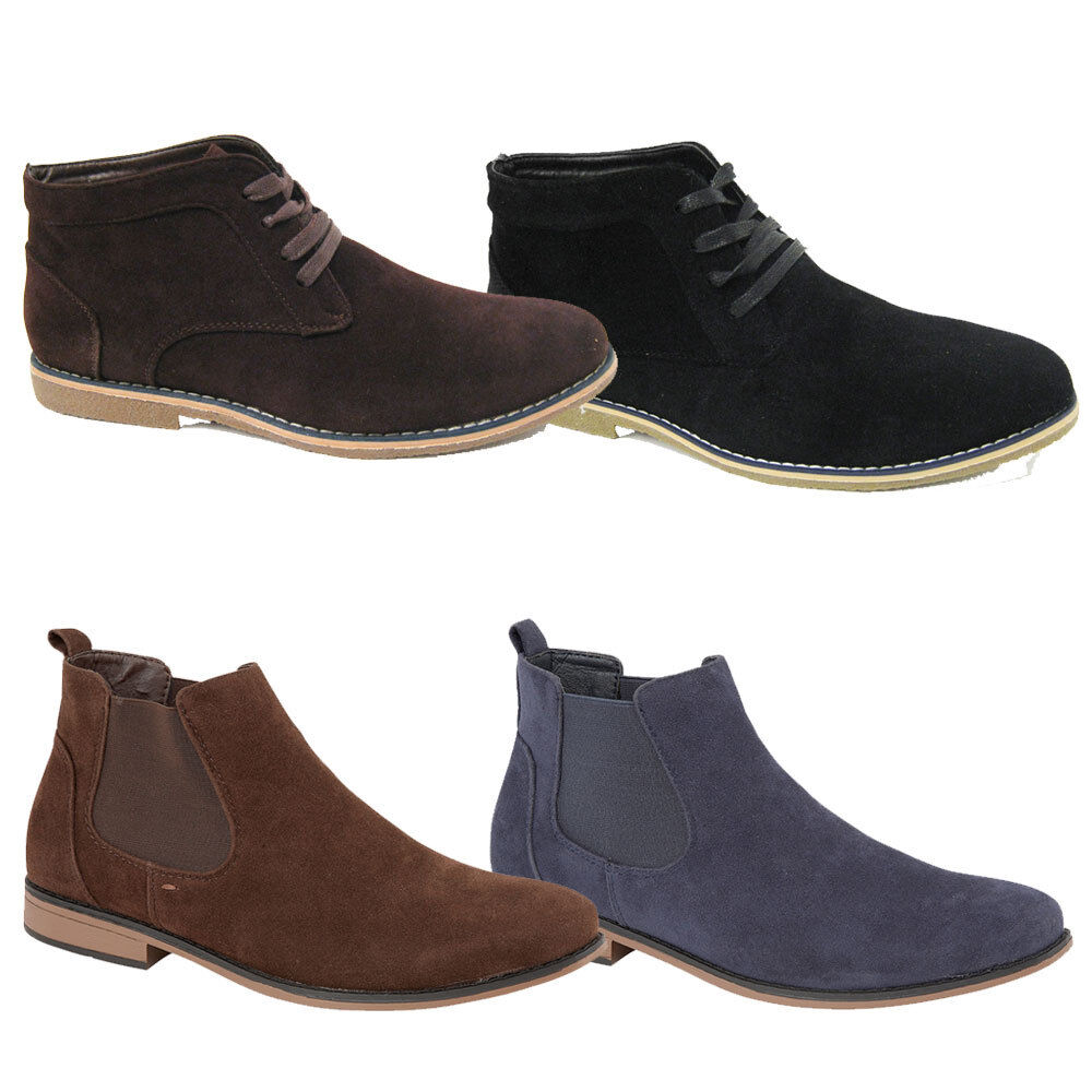 New Mens Suedette Casual Faux Suede shoes Ankle Lace Up Boots Size 7-12