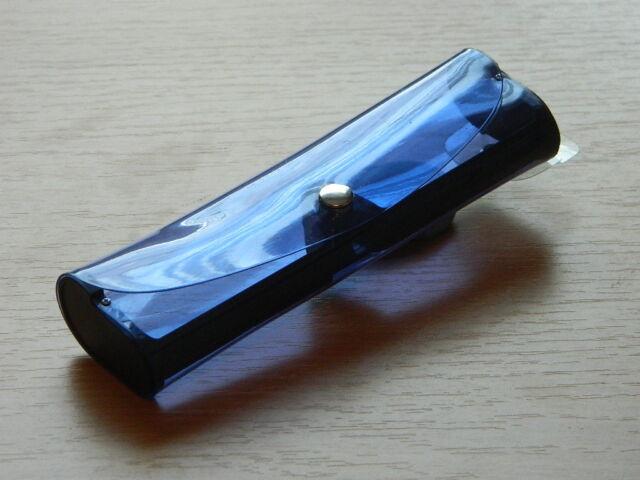 BRILLENETUI/-BOX - blau - transparent - Druckknopf-NEU-#1356/1362/1368