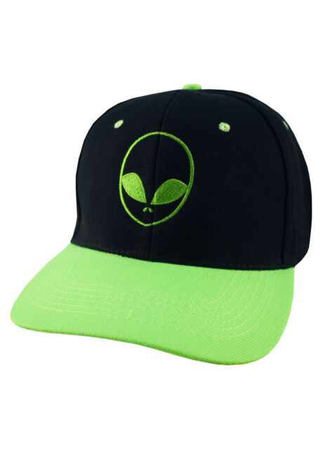 0eca3ad6cd8 ALIEN FACE EMBROIDERED SNAPBACK CAP SCI FI SLOGAN BLACK AND GREEN BASEBALL  HAT