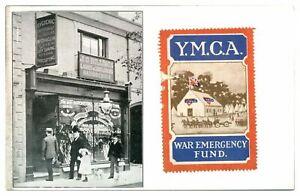Antique-printed-military-WW1-postcard-J-G-Billings-hairdresser-YMCA-war-fund