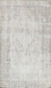 Antique-Distressed-Traditional-Muted-Floral-Area-Rug-Hand-knotted-Oriental-8x11