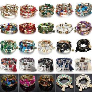 Bohemian-Multilayer-Natural-Stone-Crystal-Elastic-Bracelet-For-Women-Charm-Gift