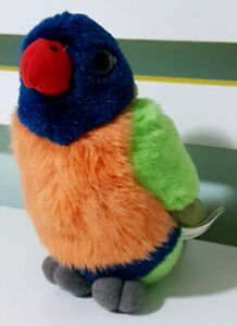 Rainbow-Lorikeet-Plush-Toy-Chirps-Bird-Noises-K-amp-M-International-16cm-Tall
