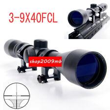 3-9x40 Sniper Optic Scope Sight W/ 20mm Picatinny Rail Mount For Rifle Hunting