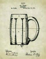 Beer Mug Patent Poster Art Print Vintage Bar Pub Signs Home Brewing Kits Pat286