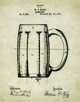 Beer Mug Patent Poster Art Print Vintage Bar Pub Signs Home Brewing Kits Pat286