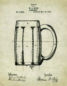 Beer-Mug-Patent-Art-Print-Vintage-Bar-Pub-Signs-Home-Brewing-Kit-Wall-Decor-Gift