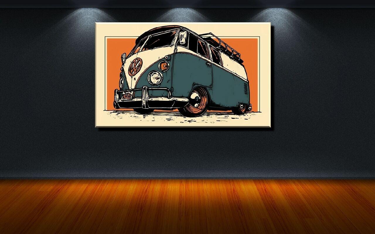 LEINWAND BILD BILDER BILDER BILDER XXL POP ART VW BULLY BULLI T1 AUTOBUS VOLKSWAGEN - 150x90 277963