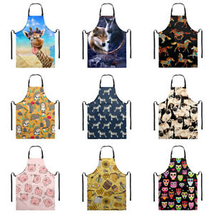 Funny Animal Design Adult Bib Aprons with Pocket Waterproof Cooking Kitchen BBQ
