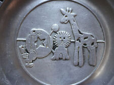 PEWTREX Alphabet & Numbers Baby Pewter Decorative Plate, Lion, Giraffe, Bird