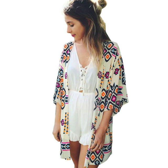 Womens Aztec Print Shawl Kimono Cardigan Summer Bikini Cover Up Blouse Loose Top