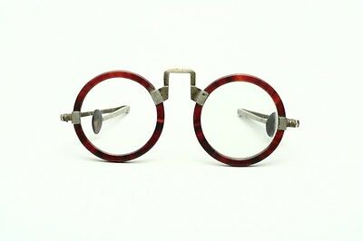 Antique Chinese beautiful round horn eyeglasses with foldable arms   - N73